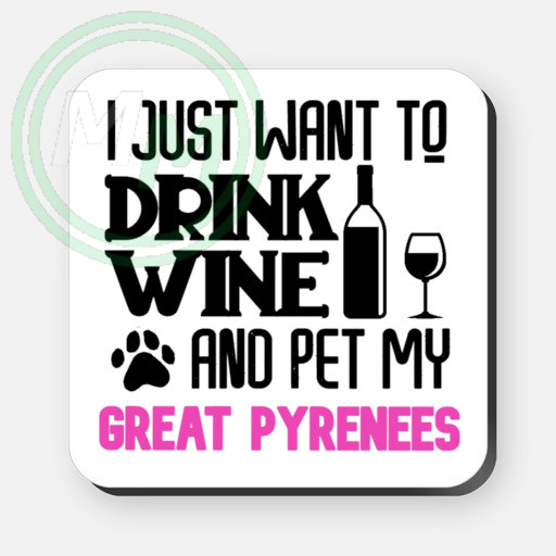 pet my great pyrenees coaster pink