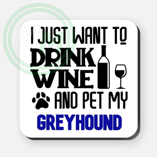 pet my greyhound coaster blue