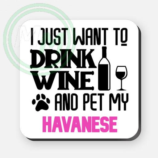 pet my havanese coaster pink