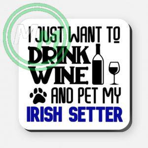 pet my irish setter coaster blue