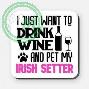 pet my irish setter coaster pink