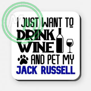 pet my jack russell coaster blue
