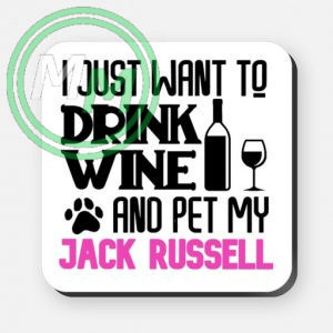 pet my jack russell coaster pink