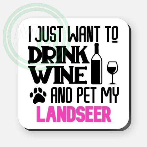 pet my landseer coaster pink