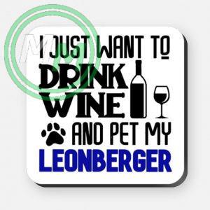 pet my leonberger coaster blue