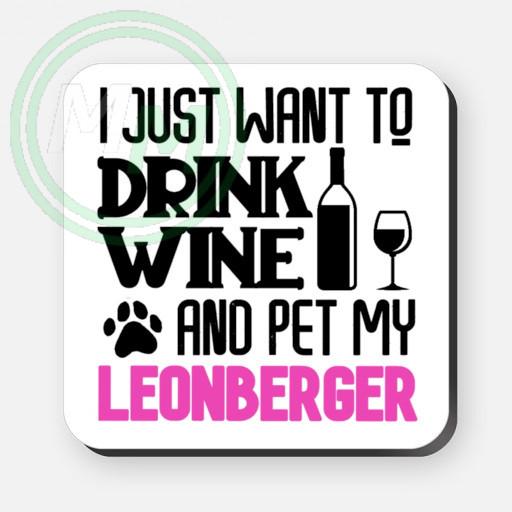 pet my leonberger coaster pink