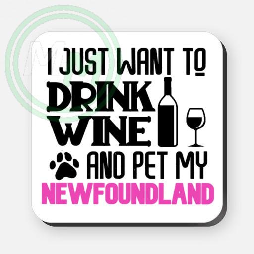 pet my newfoundland coaster pink