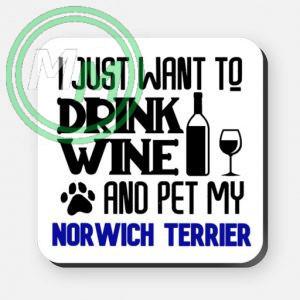 pet my norwich terrier coaster blue