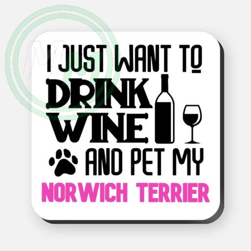 pet my norwich terrier coaster pink