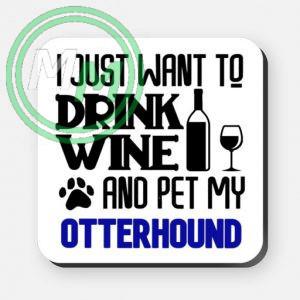 pet my otterhound coaster blue