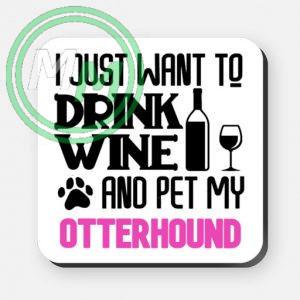 pet my otterhound coaster pink