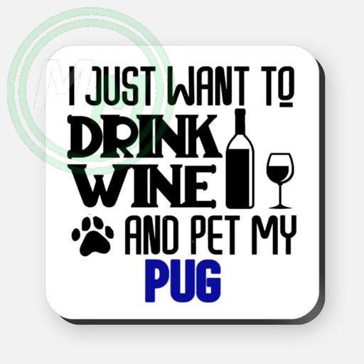 pet my pug coaster blue