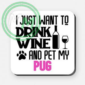 pet my pug coaster pink