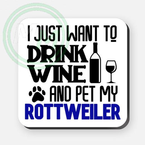 pet my rottweiler coaster blue