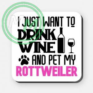 pet my rottweiler coaster pink