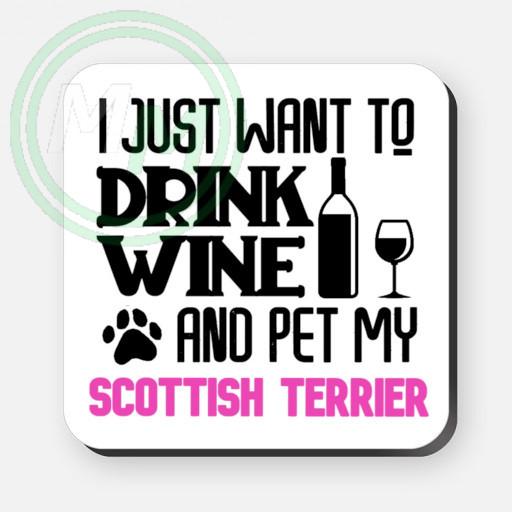 pet my scottish terrier coaster pink