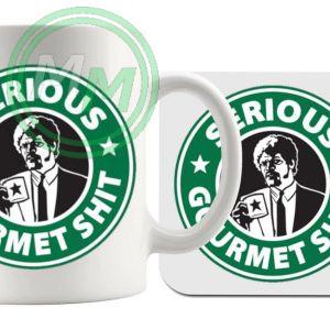 serious gourmet coffee mug and coaster set