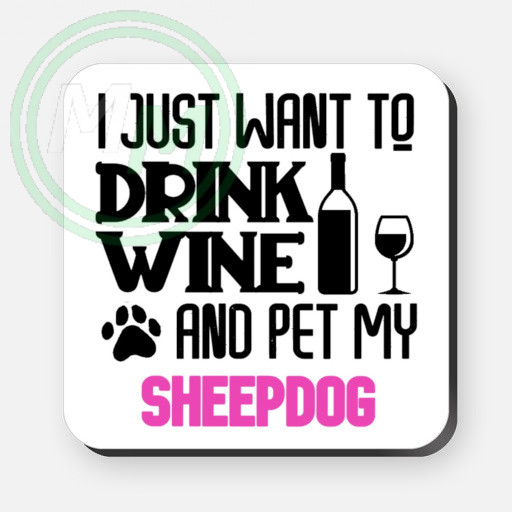 pet my sheepdog coaster pink