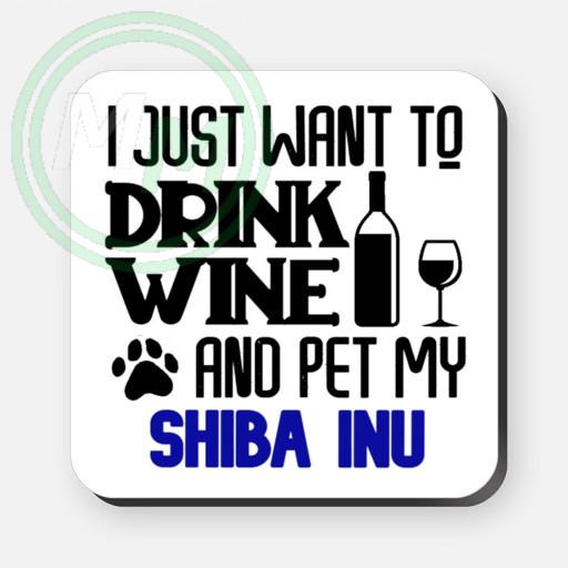 pet my shiba inu coaster blue