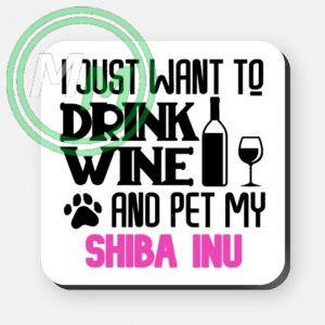 pet my shiba inu coaster pink
