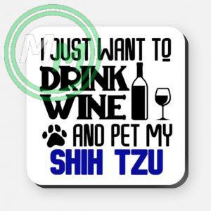 pet my shih tzu coaster blue