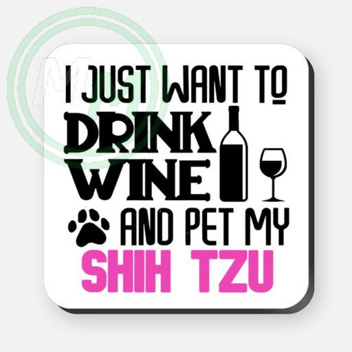 pet my shih tzu coaster pink