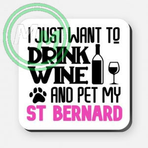 pet my st bernard coaster pink