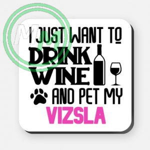 pet my vizsla coaster pink