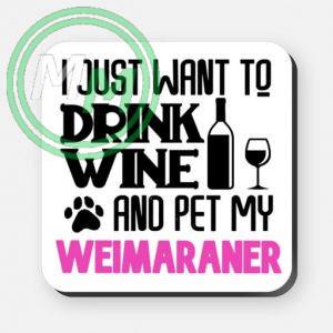 pet my weimaraner coaster pink
