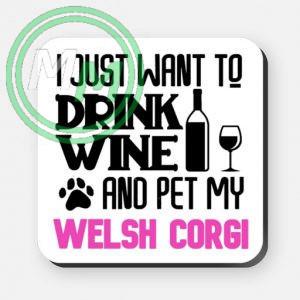 pet my welsh corgi coaster pink