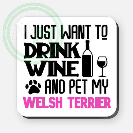 pet my welsh terrier coaster pink