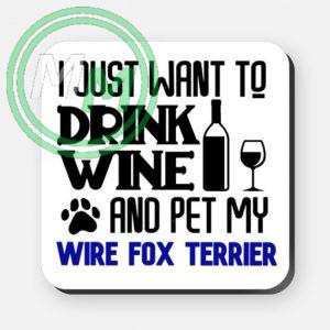 pet my wire fox terrier coaster blue