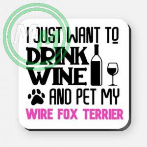 pet my wire fox terrier coaster pink