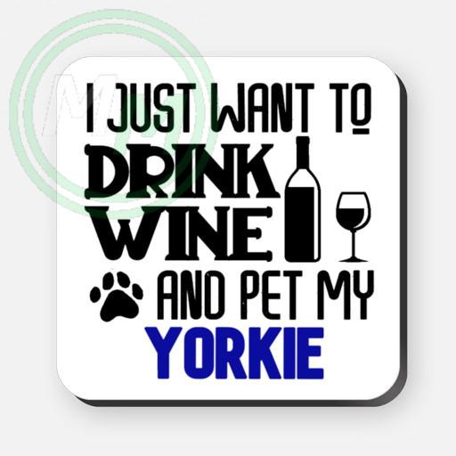 pet my yorkie coaster blue