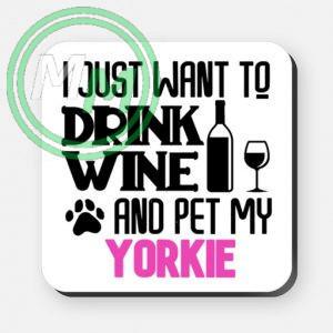 pet my yorkie coaster pink